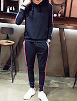 cheap -Men's Petite Casual/Daily Simple Set Solid Striped Hooded Without Lining Micro-elastic Polyester Long Sleeve Autumn/Fall