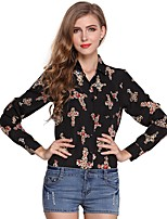 cheap -Women's Holiday Going out Cute Active Street chic All Seasons Blouse,Print V Neck Long Sleeve Polyester Medium