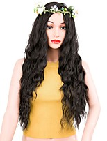 Women Synthetic Wig Long Water Wave Black Middle Part Layered Haircut Natural Wigs Costume Wig