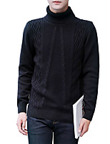 cheap -Men's Daily Work Casual Active Street chic Regular Pullover,Solid Print Turtleneck Long Sleeves Polyester Spandex Japanese Cotton Winter