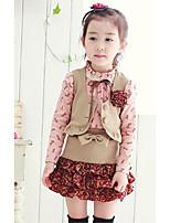 Girls' Print Color Block Clothing Set,Cotton Spring Fall Long Sleeve Cute Khaki