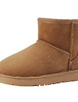 preiswerte -Damen Schuhe Schafspelz Winter Schneestiefel Stiefel Flach Runde Zehe Mittelhohe Stiefel für Normal Schwarz Beige Grau Gelb Kaffee