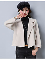 cheap -Women's Going out Simple Winter Trench Coat,Solid V Neck Long Sleeve Regular Cotton Acrylic