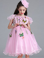 cheap -Girl's Christmas Holiday Solid Print Dress,Polyester Summer Short Sleeves Simple Cartoon Princess Blushing Pink