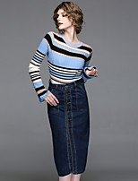 Women's Going out Casual/Daily Street chic Spring Fall Sweater Skirt Suits,Striped Crew Neck Long Sleeve Knitting Denim Cotton Polyester
