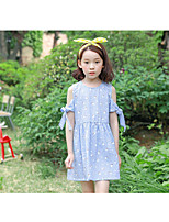 Girl's Casual/Daily Grid Pattern Dress,Cotton Winter Fall Sleeveless Simple Blue