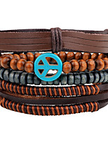 cheap -Men's Women's Strand Bracelet Wrap Bracelet Vintage Fashion Rock Wooden Hemp Rope Leather Circle Peace Sign Jewelry Evening Party Carnival