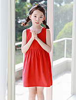 Girl's Holiday Solid Dress,Cotton Summer Sleeveless Simple Red
