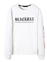 cheap -Men's Petite Casual/Daily Active Sweatshirt Letter Round Neck Without Lining Micro-elastic Cotton Polyester Long Sleeves Winter Fall