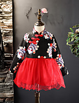 Girl's Christmas Going out Print Dress,Cotton Polyester Winter Long Sleeves Chinoiserie Black