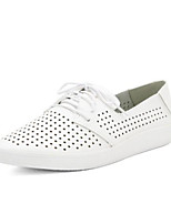cheap -Women's Shoes PU Spring Comfort Sneakers Walking Shoes Flat Closed Toe for Casual Black White