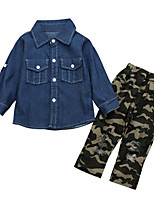cheap -Girls' Daily Sports Camouflage Clothing Set,Cotton Spring Fall Long Sleeve Casual Street chic Blue