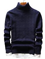 Недорогие -Для мужчин На выход На каждый день Простой Очаровательный Уличный стиль Обычный Пуловер Однотонный,Хомут Длинный рукав Полиэстер Спандекс