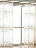 Rod Pocket Grommet Top Tab Top Double Pleat Pencil Pleat Curtain Country , Embroidery Floral Bedroom Polyester Blend Material Sheer