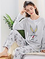 abordables -Costumes Pyjamas Femme,Imprimé Imprimé Coton Gris