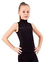 cheap -Figure Skating Top Women's Girls' Ice Skating Top Fuchsia Black Spandex Stretchy Performance Practise Skating Wear Solid Sleeveless Ice