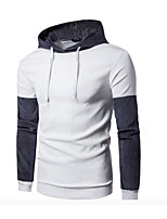 cheap -Men's Daily Hoodie Color Block Hooded Micro-elastic Polyester Long Sleeve Winter Spring/Fall