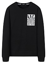 cheap -Men's Plus Size Going out Casual/Daily Simple Sweatshirt Solid Print Round Neck Without Lining Inelastic Cotton Long Sleeves Winter Fall