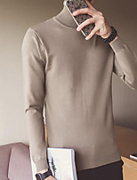 cheap -Men's Going out Casual Long Pullover,Solid Round Neck Long Sleeves Polyester Spring Fall Thick Inelastic