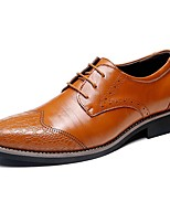 cheap -Men's Shoes Leather Spring Fall Comfort Oxfords for Office & Career Party & Evening Dark Brown Light Brown Black