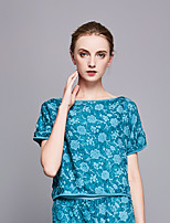 cheap -Women's Casual/Daily Boho Summer Blouse,Floral Round Neck ½ Length Sleeve Polyester Opaque
