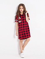 cheap -Girl's Casual/Daily Plaid Dress,Cotton Winter Fall Long Sleeves Simple Red