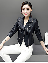 cheap -Women's Daily Vintage Winter Leather Jacket,Solid Round Neck Short Sleeve Regular Cotton Acrylic Others Sequins