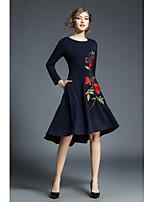 economico -Linea A Vestito Da donna-Per uscire Casual Vintage Stoffe orientali Jacquard Rotonda Medio Maniche lunghe Poliestere Autunno A vita
