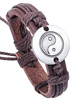 cheap -Men's Bracelet , Asian Classic Cool Leather Alloy Circle Jewelry Gift Causal