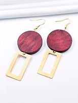 cheap -Women's Drop Earrings Metallic Oversized Wooden Alloy Circle Rectangle Jewelry Party Daily
