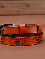 cheap -Women's Genuine Leather Alloy Waist Belt,Light Brown Red Black White Brown Vintage Work Casual
