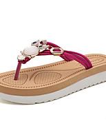 Недорогие -Для женщин Обувь Полиуретан Лето Удобная обувь Тапочки и Шлепанцы Микропоры для Повседневные Черный Бежевый Темно-синий Красный