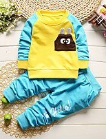 cheap -Boys' Daily Going out Solid Cartoon Clothing Set,Cotton All Seasons Long Sleeve Cute Casual Active Blue Green