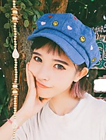 cheap -Unisex Fabric Swatch Beret Hat,Vintage Flower Spring, Fall, Winter, Summer Printing Blue
