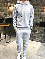 cheap -Men's Petite Going out Street chic Hoodie Solid Hooded Without Lining Stretchy Polyester Long Sleeve Fall/Autumn