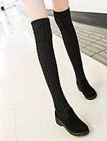 Недорогие -Для женщин Обувь Искусственное волокно Зима Модная обувь Ботинки Туфли на танкетке Круглый носок Бедро высокие сапоги для Повседневные