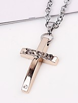 cheap -Women's Cross Metallic European Hiphop Pendant Necklace Chain Necklace , Alloy Pendant Necklace Chain Necklace , Street Going out