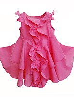 cheap -Girl's Daily Going out Solid Dress,Cotton Summer Sleeveless Cute Active Fuchsia