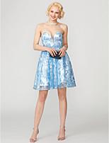baratos -Linha A Princesa Decote Princesa Curto / Mini Renda Paetês Coquetel Vestido com Miçangas Apliques Faixa de TS Couture®