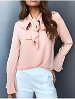 cheap -Women's Going out Street chic Fall Blouse,Solid Round Neck Long Sleeve Polyester Opaque