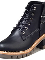 cheap -Women's Shoes PU Winter Comfort Combat Boots Boots Low Heel Round Toe Mid-Calf Boots for Casual Dark Brown Black