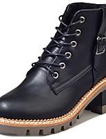 baratos -Feminino Sapatos Couro Ecológico Inverno Conforto Coturnos Botas Salto Baixo Ponta Redonda Botas Cano Médio para Casual Preto Castanho
