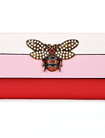 cheap -Women Bags Cowhide Wallet Buttons Flower(s) for Casual All Season Red Blue