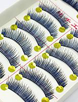 preiswerte -10 Wimpern Augenwimpern Vollbandwimpern Augenwimpern Natürlich lang Mehrfarbig Natürlich Handgemacht Faser Black Band 0.07mm