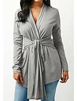 economico -T-shirt Da donna Quotidiano Vintage Inverno Primavera,Tinta unita A V Cotone Maniche lunghe Medio spessore