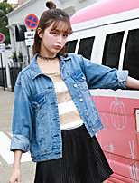 cheap -Women's Going out Casual/Daily Simple Spring Fall Denim Jacket,Print Shirt Collar Long Sleeve Short Cotton Polyester Oversized