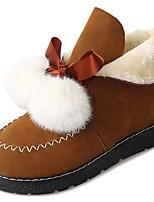 baratos -Feminino Sapatos Micofibra Sintética PU Inverno Coturnos Botas Sem Salto Ponta Redonda Botas Curtas / Ankle para Casual Preto Camel