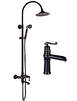 cheap -Art Deco / Retro Centerset Handshower Included Ceramic Valve Two Handles Two Holes Oil-rubbed Bronze , Shower Faucet