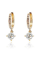 Women's Hoop Earrings Sweet Lovely Zircon Alloy Circle Jewelry Party Daily