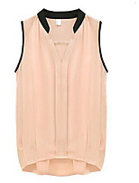 cheap -Women's Holiday Casual/Daily Street chic Blouse,Solid V Neck Sleeveless Polyester